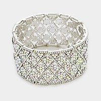 Crystal rhombus net stretch evening bracelet