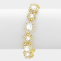 Rhinestone trim glass crystal link evening bracelet