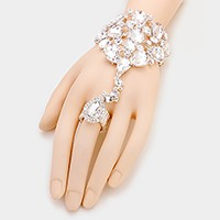 Teardrop Crystal Rhinestone Evening Hand Chain Bracelet