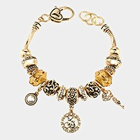 'B' Monogram & heart key charm multi-bead bracelet