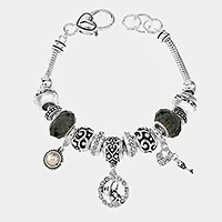 'C' Monogram & heart key charm multi-bead bracelet