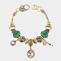 'D' Monogram & heart key charm multi-bead bracelet