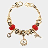 'E' Monogram & heart key charm multi-bead bracelet