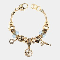 'J'  Monogram & heart key charm multi-bead bracelet
