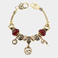 'L' Monogram & heart key charm multi-bead bracelet