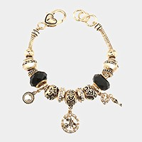 'M' Monogram & heart key charm multi-bead bracelet