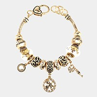 'N' Monogram & heart key charm multi-bead bracelet