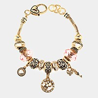 'P' Monogram & heart key charm multi-bead bracelet