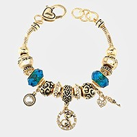 'S' Monogram & heart key charm multi-bead bracelet