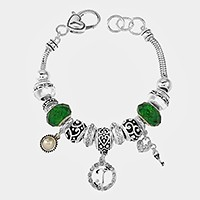 'T' Monogram & heart key charm multi-bead bracelet