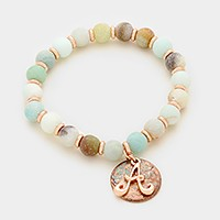 'A' Monogram charm & semi precious stone beaded stretch bracelet
