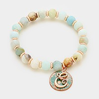 'E' Monogram charm & semi precious stone beaded stretch bracelet