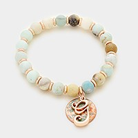 'G' Monogram charm & semi precious stone beaded stretch bracelet