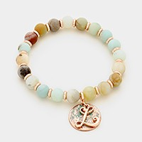 'L' Monogram charm & semi precious stone beaded stretch bracelet
