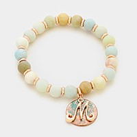 'M' Monogram charm & semi precious stone beaded stretch bracelet
