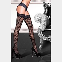 Premium quality zebra net with lace top thigh high stockings