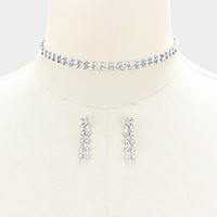 2-Row rhinestone choker necklace