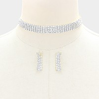 5-Row rhinestone choker necklace