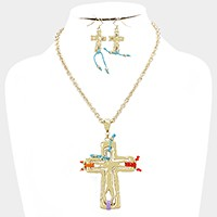 Hammered metal cross pendant necklace with thread detail