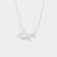 Metal shark pendant necklace