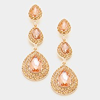 Pave trim triple glass crystal earrings