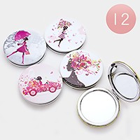 12 PCS - Girl illustration compact mirrors