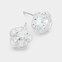 White gold plating CZ flower stud earrings