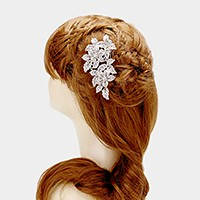 Pave flower vine hair comb