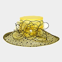 Wide polka dot brim flower organza hat