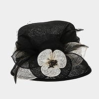 Two tone flower small brim sinamay hat