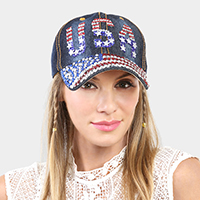 American flag USA bling denim baseball cap