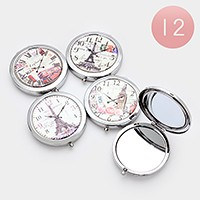 12 PCS - Eiffel tower & Big ben vintage watch print compact mirrors