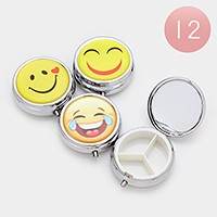 12 PCS - Emoji mirror pill organizer cases