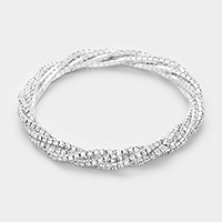 Twisted multi-row rhinestone stretch bracelet