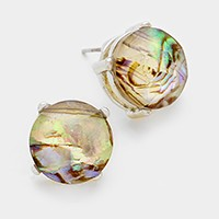 Abalone Stone Round Stud Earrings