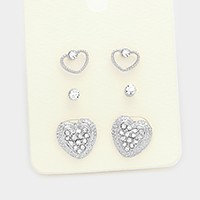 3 Pairs - Pave heart stud earrings