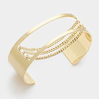 Cage cuff bracelet with triple metal chain