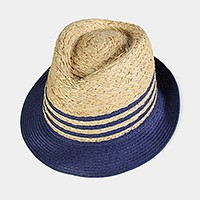 Striped color block straw fedora