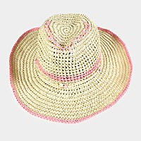Handmade western style sun hat with straw ribbon