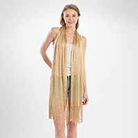 Metallic net oblong scarf with fringe