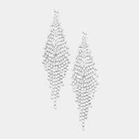 Pave Crystal Rhinestone Fringe Evening Earrings