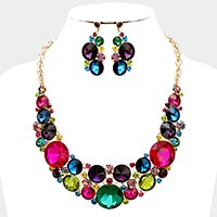 Glass crystal bubble evening necklace