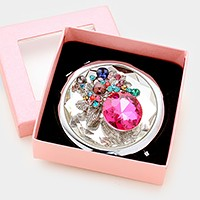 Glass jeweled compact mirror with gift box