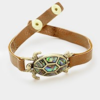 Abalone turtle faux leather bracelet