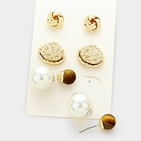 3 Pairs - double side pearl & natural stone stud earrings