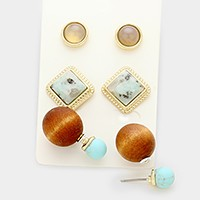 3 Pairs - double side natural stone & wood stud earrings