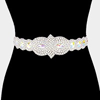 Glass Crystal sash ribbon bridal wedding belt