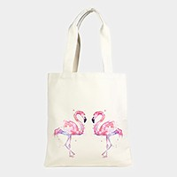 Flamingo _ Cotton canvas eco shopper bag
