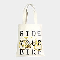 Ride your bike _ Cotton canvas eco shopper bag