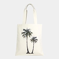 Palm tree _ Cotton canvas eco shopper bag